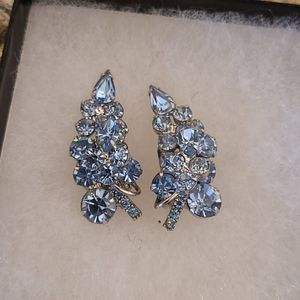 1950's light blue rhinestone clip on earrings